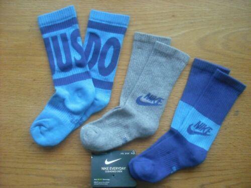 "Boys NWT NIKE Socks Crew 3prs Blue ""JUST DO IT"" Purple DRI-FIT Cushion Ages 6-8"