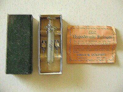 Vtg Eco Eisele Glass 2cc Hypodermic Syringe2 Needles Unusedbox