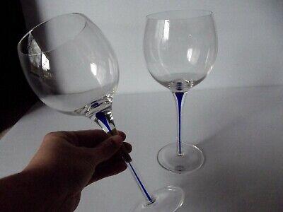 "(2) Water Glasses 9-1/8"" Goblets, Clear Blue Teardrop Tear Drop Home Essentials"