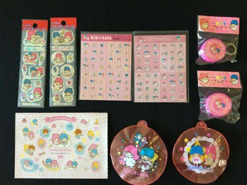 Lot of Sanrio Kiki & Lala Little Twin Stars Key chain Toy Sticker Japan vintage