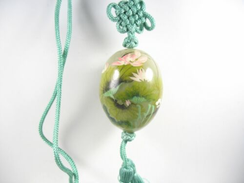 Jade Pendant Necklace on Green Cord with Tassels Monet Egg  Asian Bead JP3