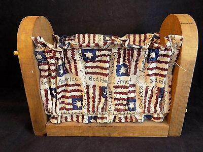 Vntg KITCHEN CADDY  God Bless America Flag  theme NAPKIN HOLDER wood and fabric - God And Halloween