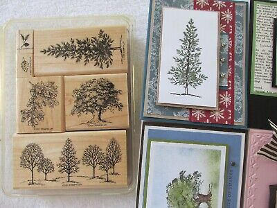 Stampin Up Lovely as a Tree - Christmas Pine Oak Acorn Rubber Stamp Rare