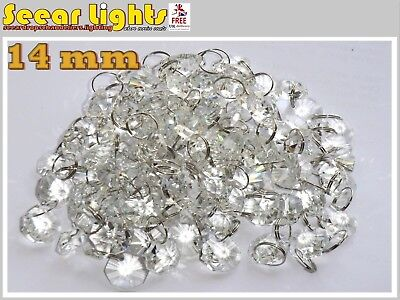 100 CHANDELIER LIGHT CRYSTALS DROPLETS GLASS BEADS DROPS 14mm LAMP PARTS 2m LONG