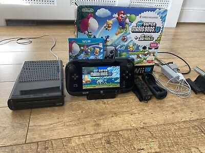 Boxed Nintendo Wii U Super Mario & Luigi Premium Pack Black Console Bundle 32GB