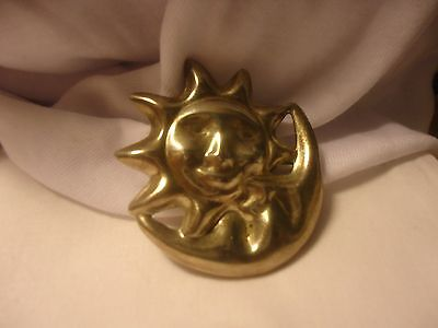 Vintage Mexico Sterling Silver Sun & Moon Brooch  Signed 16.4 grams