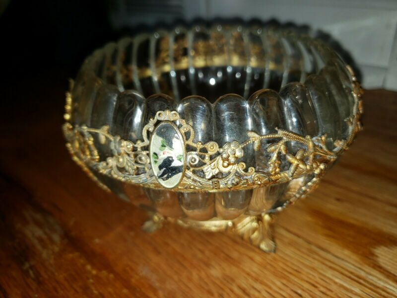 Vintage Glass Bowl With Floral Metal Overlay