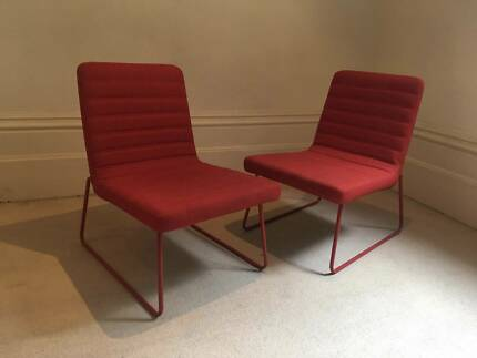 PAIR FREEDOM CHAIRS RED OFFICE  DINNING CHAIRS