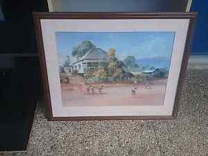 Darcy doyle cricket print framed im glass and timber Shailer Park Logan Area Preview