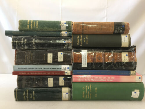 New York Genealogy Books Marriages Deaths Name Changes Records Lot of 14 Vintage