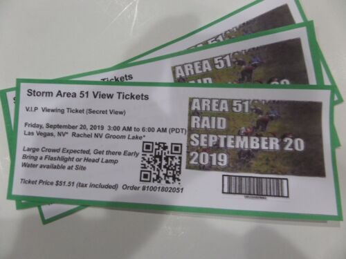 Area 51 - Storm (Raid) Viewing Tickets- September 20, 2019 Rachel NV, Lot of 2