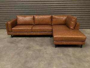 NEW CHAISE LONGUE: LISBON REAL LEATHER 3-SEATER COSMOPOLITAN LOOK Leumeah Campbelltown Area Preview