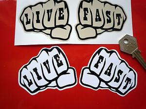 Live fast knuckle tattoo decal stickers biker custom hot for Custom tattoo stickers