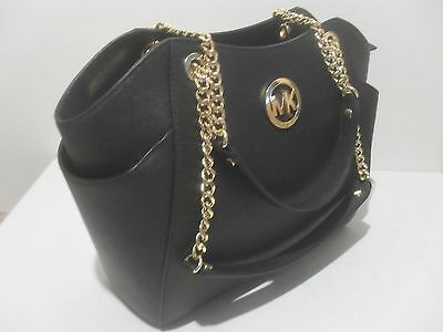 NWT Michael Kors Black Saffiano Leather Jet Set Travel Chain Shoulder Tote Bag