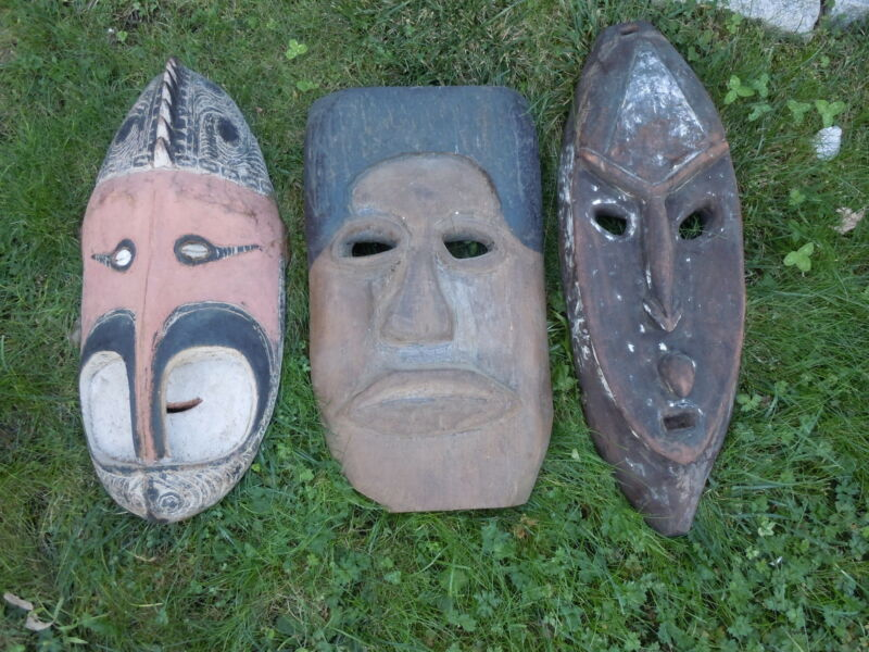 Antique Early 20TH CENTURY AUTHENTIC NEW GUINEA MASKS ($160 EACH)