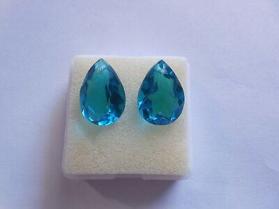 (AAA+Hydro Topaz Blue Quartz Faceted Pear Cut Top Front To Back Drilled Beads)