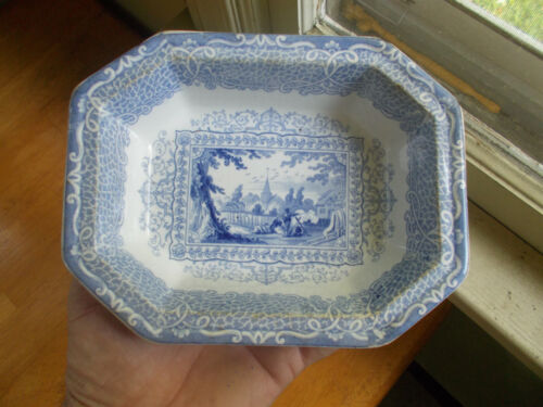 """1850s BLUE STAFFORDSHIRE CHINA GIPSY PATTERN 8 SIDED SERVING BOWL 7 1/2""""LONG"""