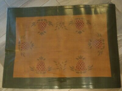 STENCILED CANVAS FLOOR MAT RUG PINEAPPLE DESIGN POLYURETHANE FINISH 32