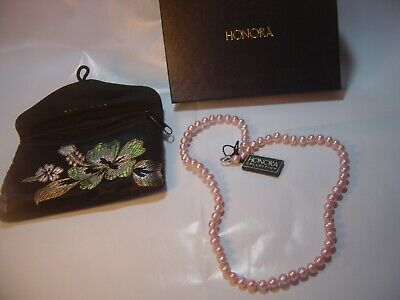 """SUPERB-18"""" QUALITY """"HONORA """" GENUINE PALE PINK PEARLS NECKLACE- SILVER CLASP"""