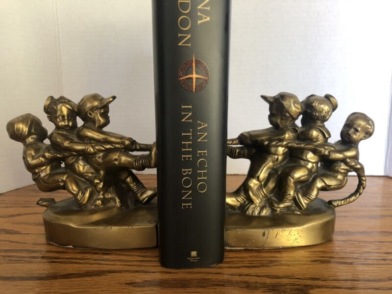 Vintage PM Craftsman Tug of War 3 Children Playing Solid Brass Bookends Used