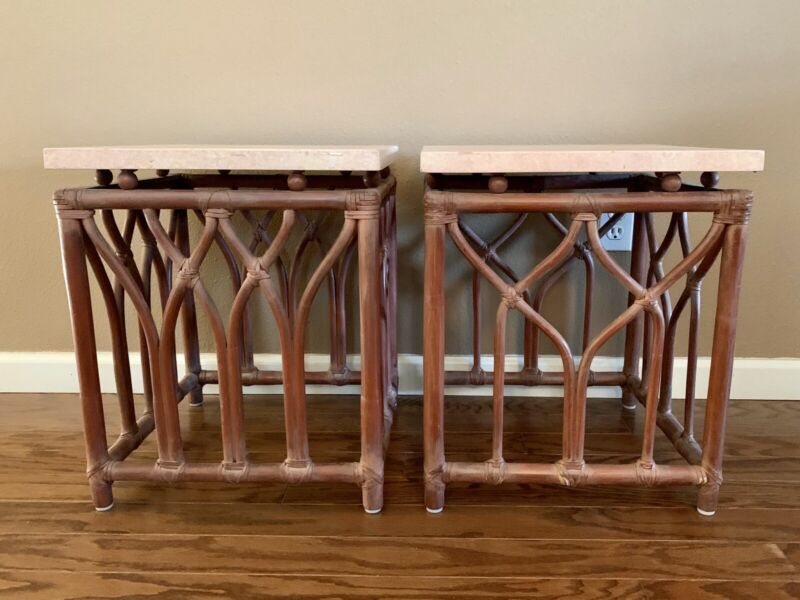 Genuine McGuire San Francisco Set of Two Side Tables Vintage Rattan