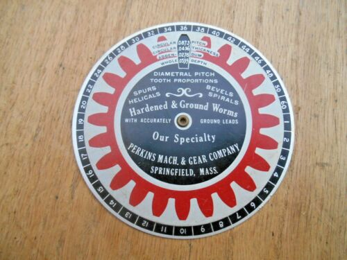 VTG. PERKINS MACH. & GEAR CO. DIAMETRAL PITCH TOOTH PROPORTIONS , WHEEL , CHART