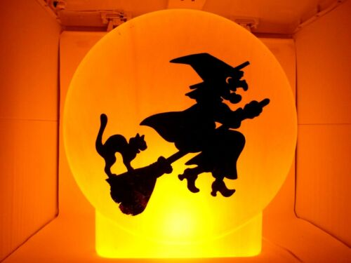 """Vintage Sunhill 22"""" Witch on Broom with Cat Moon Silhouette Blow Mold 1990s"""