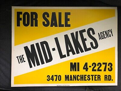 Vintage For Sale MID-LAKES Agency Cardboard Sign Akron Ohio Manchester Rd 1950's