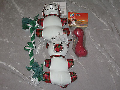 (Holiday Plaid Plush Dog Toys Pig Rope Rubber Bone Play Exercise Chew NEW!)