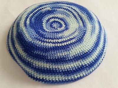 Knitted blue whirlpool Yamaka Kipot Yarmulke Kippah Kippa 18 cm hat bar mitzvah