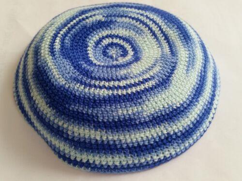 Knitted blue whirlpool Yamaka Shabbat Yarmulke Kippah Kipa 18 cm hat bar mitzvah