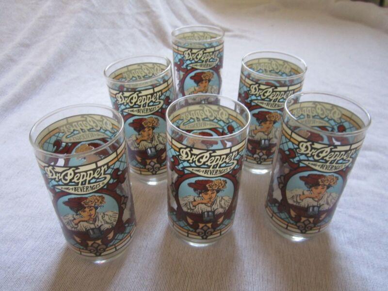 6 Vintage Dr Pepper Glasses