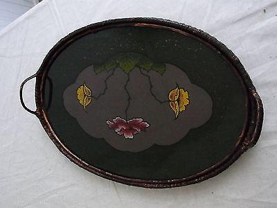 Art-Deco Tablett hinter Glas mit Blumen, Holzboden, Rand und Griffe Korbgeflecht