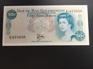 Isle Of Man 50p Note. uncirculated. C-prefix numbers