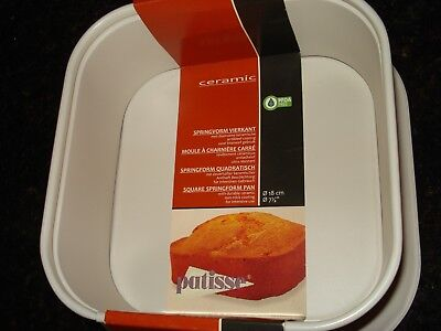 Patisse 03320 Ceramic Extra Deep Square Springform Pan With Leak-Proof Bottom