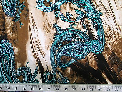 Discount Fabric Printed Lycra Spandex Stretch Turquoise Paisley Storm Cloud A401 - Discount Costumes