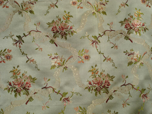 antique french  almond green silk brocade with pink roses   L 1 yard x W 25""