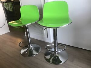Green and chrome hydraulic bar chairs