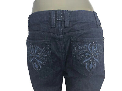 J & Company Women's Embellished Dark Wash Denim Jeans Embroidered Pockets 29 -