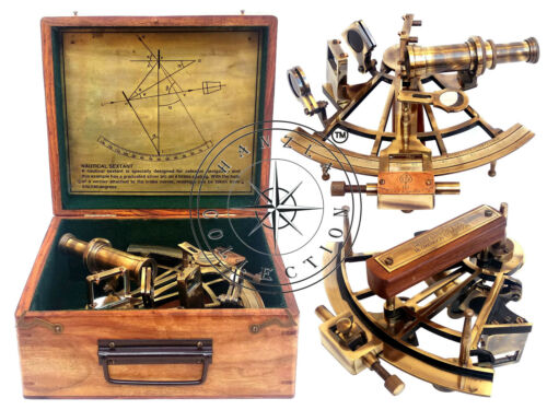 "Henry Barrow & Co. London 8"" Brass Ship Sextant German Sextant With Hardwood Box"