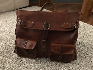 Moroccan hand made leather suitcase / bag