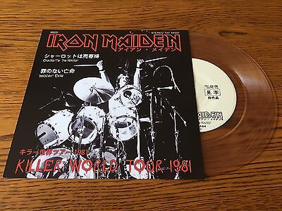 "Iron Maiden: Charlotte The Harlot / Innocent Exile 7"" CLEAR Vinyl Single Record"