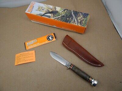 2000 MARBLES Gladstone USA CUSTOM SHOP HUNTING Sport KNIFE Elm Burl MINT in Box