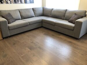 Sectional Sofa Couch - Light Grey/Twead (BRAND NEW)