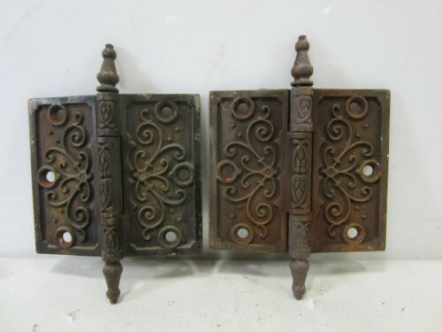 "2 Antique Pat. Date 1877 Steeple Top Door Hinges 4.5"" x 4""  HI#82"
