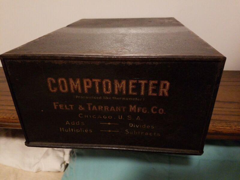 Vintage Felt & Tarrant Mfg Comptometer Metal Cover Case Calculator Adding Ad Tin