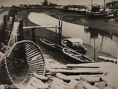 """Großes Original-Vintage von Willy Hinck, Dangast: """"Vareler Hafen im Schnee"""","""