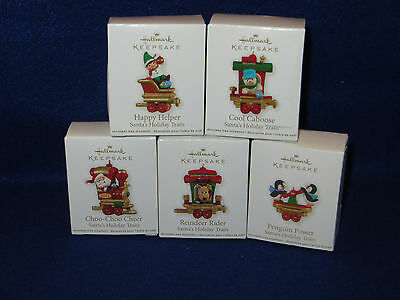 """SANTA'S HOLIDAY TRAIN"" HALLMARK MINIATURE ORNAMENTS - SET OF 5 - MIB"