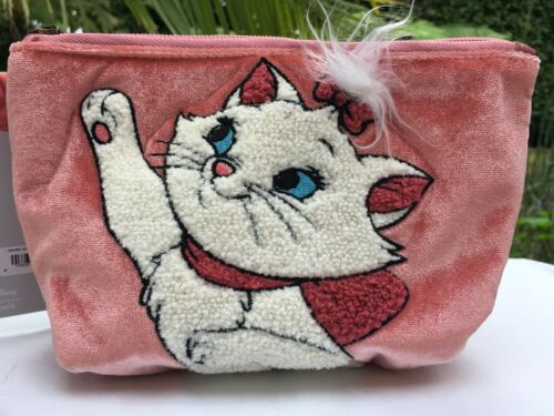 """Disney Loungefly The Aristocats """"Marie"""" Velvet Cosmetic Makeup Bag Purse Pouch"""