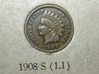 1908 S INDIAN HEAD CENTS                                                  10TH